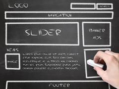 Website wireframe sketch on blackboard Stock Photos