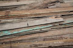 Stack of old and dirty lumber Stock Photos