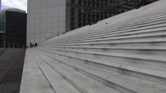 The stairs of Grand Arche at La Defense Paris - stock footage