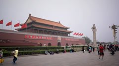 People walking in front of Tiananmen gate Stock Footage