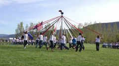 May Pole Dance young school children HD 0298 Stock Footage