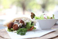 Falafel in a pita Stock Photos