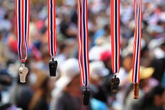 Whistles with thailand  flag lanyard hanging for sale Stock Photos