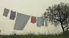 Windy Overcast Weather Storm Farm House Clothes Stock Footage