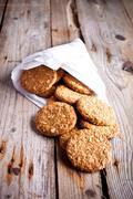 fresh crispy oat cookies - stock photo
