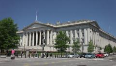 Treasury Department, Segways, Pennsylvania Ave entrance 4k Stock Footage