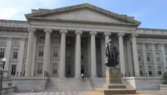 Stock Video Footage of US Treasury Department building, DC, North entrance 4k
