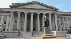 Stock Video Footage of US Treasury Department building, DC, North entrance