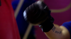 Man practising boxing-aim with slow, precise punches Stock Footage