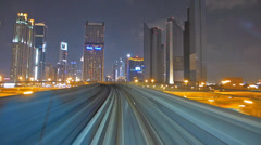 Stunning Impressive Time Lapse Dubai elevated Rail Metro Sheikh Zayed Rd UAE Stock Footage