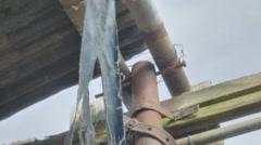 Torn Blue Cloth Broken Shelter Catastrophy Aftermath - 29,97FPS NTSC Stock Footage