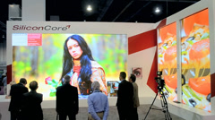 Large video wall demo during NAB Show 2014 in Las Vegas, USA. Stock Footage