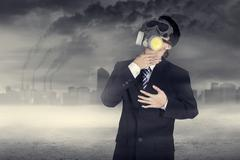Businessman hard to breathe Stock Illustration