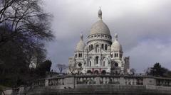 Famous Sacre Coeur at Montmartre Paris Stock Footage