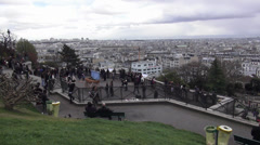 Great view over the city of Paris from Montmartre - stock footage