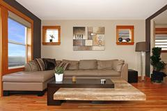 modern living room interior with leather sofa - stock photo