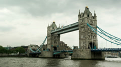 Moving camera time lapse of Tower Bridge in London, England. Stock Footage