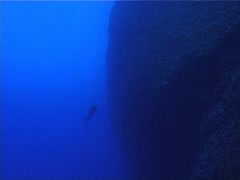 Distant scuba diver on deep wall, UP3094 Stock Footage