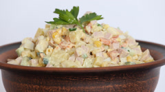 Russian traditional salad olivier Stock Footage