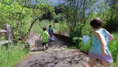 Children Wander Down A Path And Over A Bridge In Search Of Bugs Stock Footage