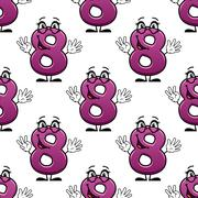 Cute happy waving number 8 seamless pattern Stock Illustration