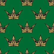 Gold crown on green in a seamless pattern Stock Illustration