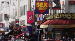 Red light district in Paris Pigalle Stock Footage