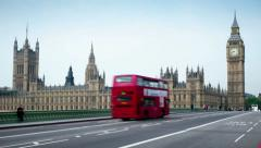 The Houses of Parliament, UK. Time lapse with a moving camera. Stock Footage