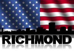 Richmond skyline and text reflected with rippled american flag illustration Stock Illustration