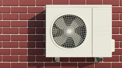 Seamless Looping Animation of Outdoor Air Conditioner Fan Ventilation Stock Footage