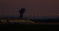 4k, Airport, Tower, Germany at night Stock Footage