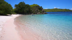 Sunny day on Pink Beach in Komodo National Park Stock Footage