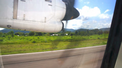 Maneuvering the aircraft on the runway, Flores Island, Indonesia, Asia Stock Footage