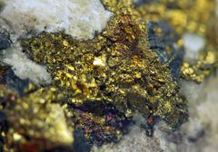 Chalcopyrite (CuFeS2) sulfide mineral. Macro. Extreme closeup - stock photo