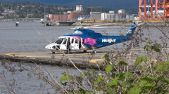 Vancouver - Waterfront - 04 - Helicopter & Port Stock Footage