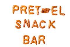 alphabet pretzel words pretzel snack bar isolated - stock photo
