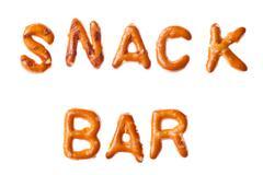 alphabet pretzel written words snack bar isolated - stock photo