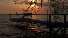 Green Lake Dockside at Sunset Stock Footage