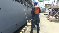 USS Ashland (LSD 48) Departs Sasebo Stock Footage