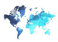 world map technology illustration design - stock illustration