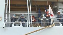 USS Ashland (LSD 48) Departs Sasebo - stock footage