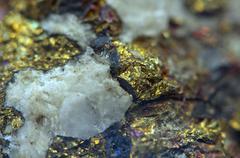 Nugget. precious metals, crystals. extreme closeup Stock Photos