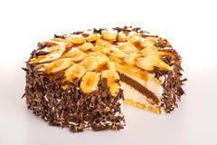 Banana cake dessert with dark chocolate - stock photo