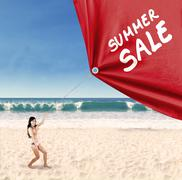 woman pulling a banner of summer sale 1 - stock illustration
