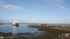 Timelapse of Calmac MV Loch Portain arriving Leverburgh Stock Footage