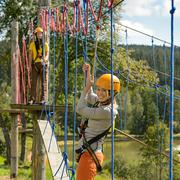 Woman climbing rope ladder in adventure park Stock Photos