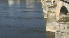 River loire and stone bridge at saumur Stock Footage