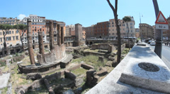 largo di torre argentina square in Rome - stock footage