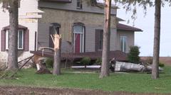 EF-1 tornado damage in Mildmay Ontario Canada Stock Footage