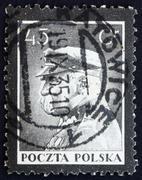 Postage stamp Poland 1935 Marshal Pilsudski, Chief of State, Sta Stock Photos